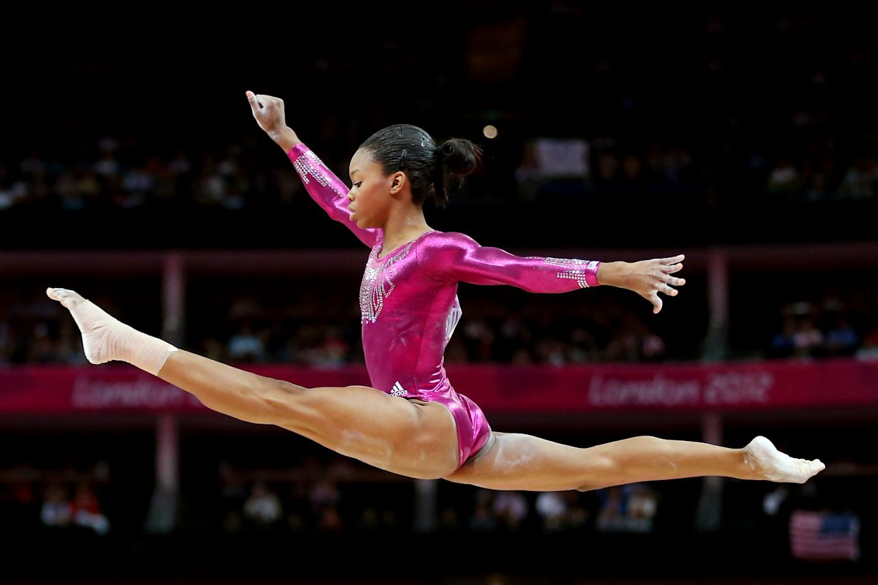 LONDON, ENGLAND - AUGUST 02:  Gabrielle Douglas of the United States competes on the balance beam in the Artistic Gymnastics Women's Individual All-Around final on Day 6 of the London 2012 Olympic Games at North Greenwich Arena on August 2, 2012 in London, England.  (Photo by Streeter Lecka/Getty Images)