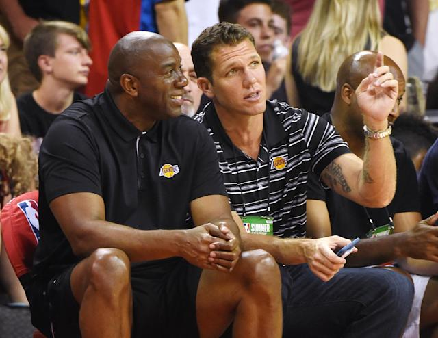 """<a class=""""link rapid-noclick-resp"""" href=""""/nba/teams/lal"""" data-ylk=""""slk:Lakers"""">Lakers</a> president Magic Johnson isn't worried about the Lakers getting off to a slow start this season with <a class=""""link rapid-noclick-resp"""" href=""""/nba/players/3704/"""" data-ylk=""""slk:LeBron James"""">LeBron James</a> — and he doesn't want head coach Luke Walton to worry, either. (Getty Images)"""