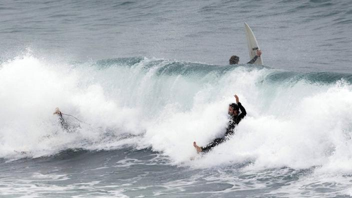 Some people in Perth saw an opportunity - as the storm created unusually large waves