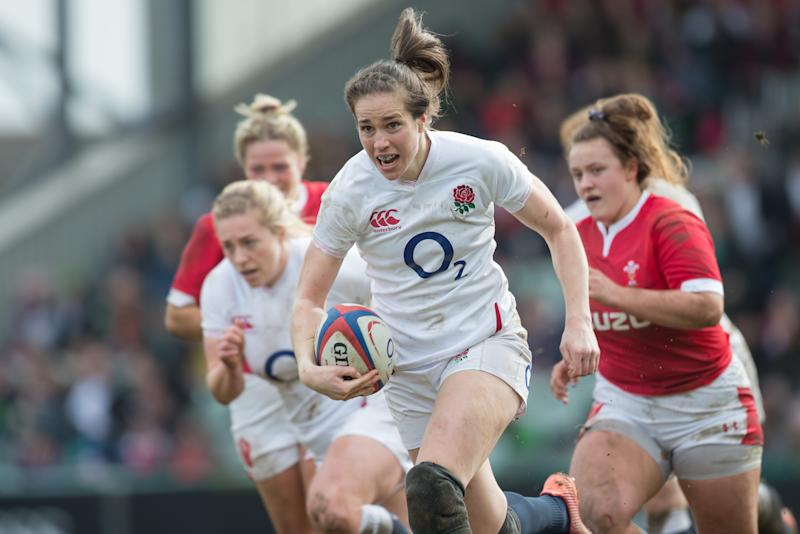 Emily Scarratt, pictured in her last game before sport's temporary hiatus, is embracing lockdown after the cancellation of the season due to the Covid-19 pandemic