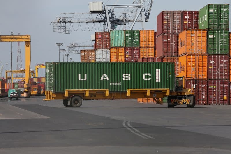 FILE PHOTO: A shipping container is unloaded in the Port of Montreal