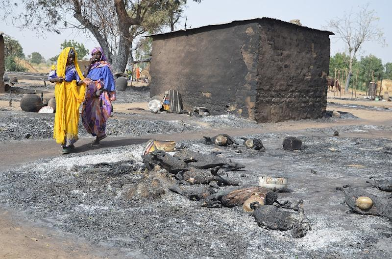 Young women fleeing from Boko Haram walk past burnt livestock in the villate of Mairi, Borno state, in February (AFP Photo/)