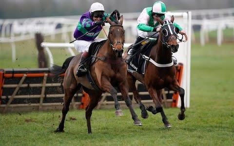<span>Thyme Hill (left) triumphed in the Betway Challow Hurdle</span> <span>Credit: Getty Images </span>