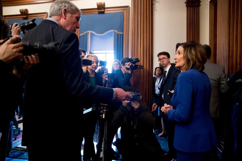 House Speaker Nancy Pelosi discusses the Coronavirus Aid, Relief, and Economic Security (CARES) Act on March 27, 2020.