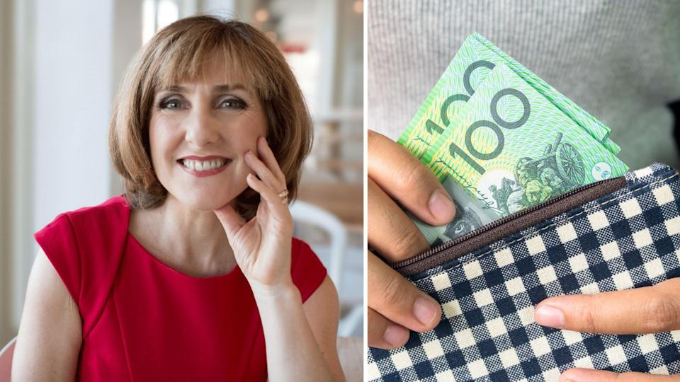 Alice Crawley smiles while wearing a red top, woman holds purse with Australian $100 notes.