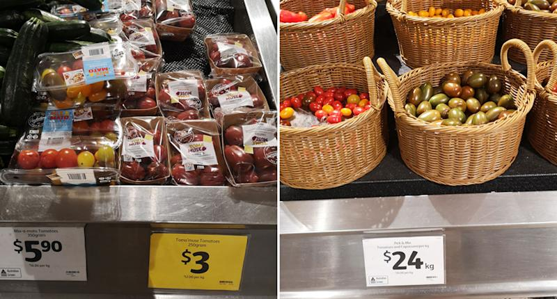 Packaged and unpackaged tomatoes are pictured at Coles.