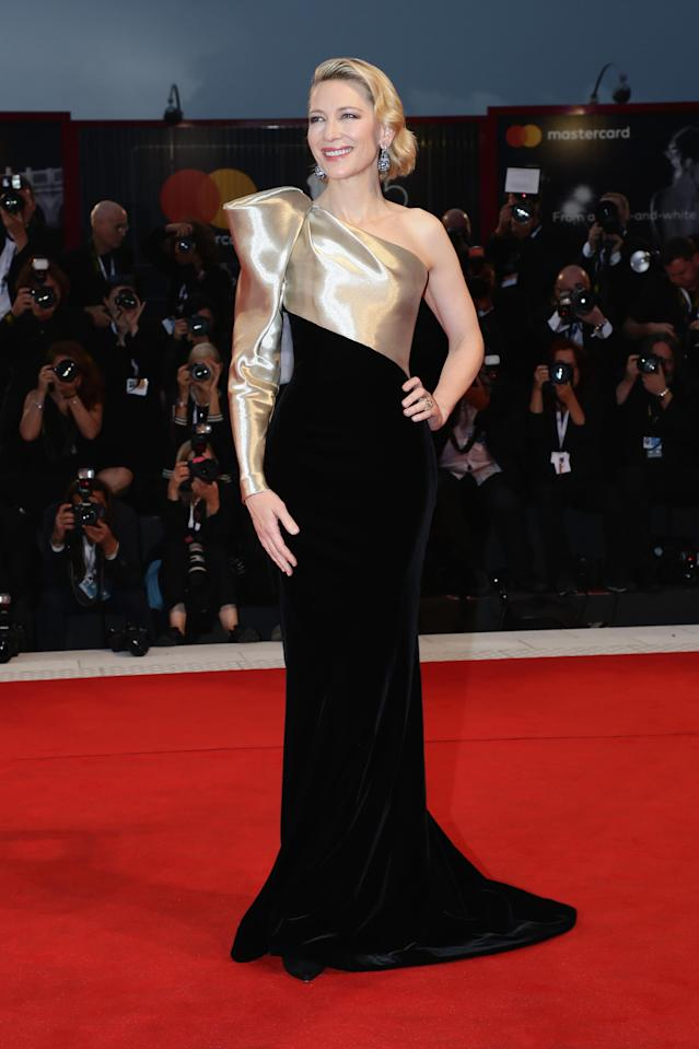 <p>Over at Venice Film Festival, Cate Blanchett chose a one-shoulder Armani number on September 1. The actress demonstrated how to work Old Hollywood glamour in 2018 by finishing the red carpet look with soft waves and Chopard jewels. <em>[Photo: Getty]</em> </p>