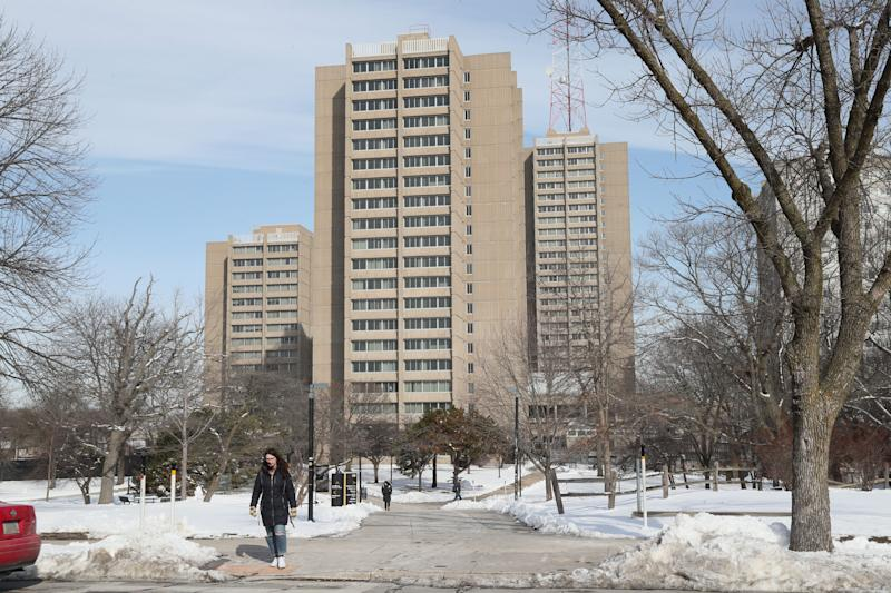 Sh'Tejah Ward, lives in the high rise Sandburg residence hall on campus at the University of Wisconsin-Milwaukee. Freshmen are required to live on campus, which can cost more than $10,000 for room and board.