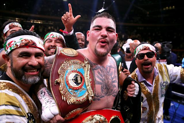 Andy Ruiz Jr. celebrates his win over Anthony Joshua at Madison Square Garden, New York. (Getty Images)