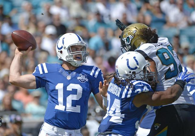 Indianapolis Colts quarterback Andrew Luck (12) throws a pass as running back Trent Richardson (34) blocks Jacksonville Jaguars defensive end Tyson Alualu (93) during the first half of an NFL football game in Jacksonville, Fla., Sunday, Sept. 29, 2013.(AP Photo/Phelan M. Ebenhack)