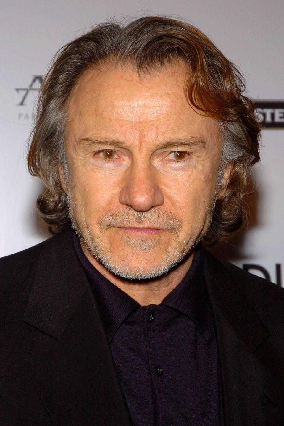 <p>Keitel's eyes may look one color at first glance, but they're actually hazel with very dark brown inner rings around the pupils.</p>