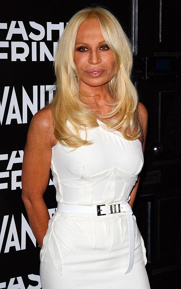 "Designer Donatella Versace has never been one to swear by au naturel beauty, but her roasted skin surely doesn't help. Gareth Cattermole/<a href=""http://www.wireimage.com"" target=""new"">WireImage.com</a> - March 17, 2009"