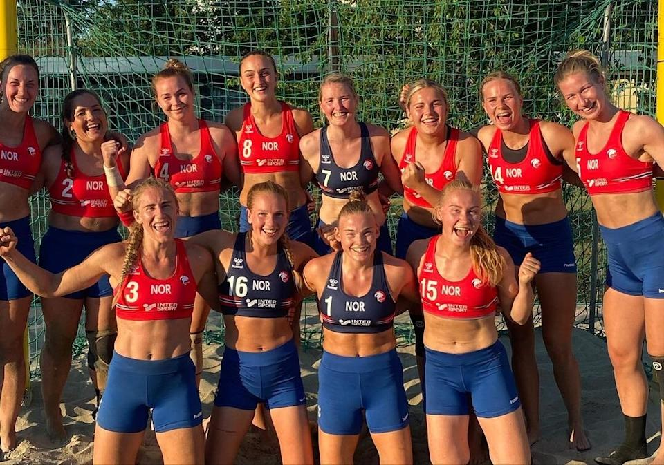 The Norwegian team was fined by the EHF last week for protesting a rule that requires women to wear bikini bottoms instead of shorts. (PHOTO: Norwegian Handball Federation VIA New York Times)