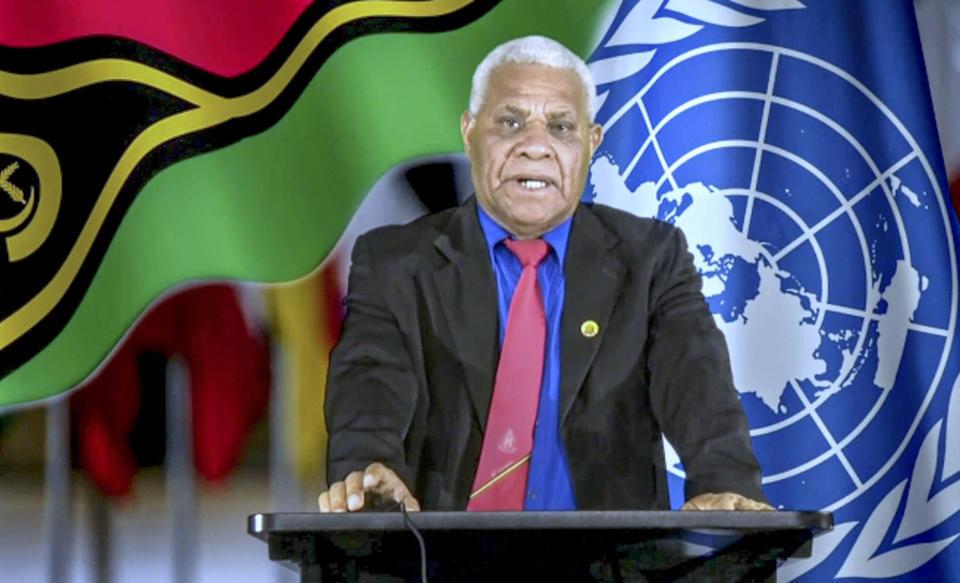 In this photo taken from video, Bob Loughman, Prime Minister of Vanuatu, remotely addresses the 76th session of the United Nations General Assembly in a pre-recorded message, Saturday Sept. 25, 2021 at UN headquarters. (UN Web TV via AP)