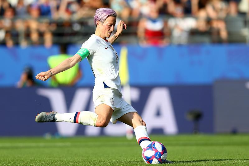 Megan Rapinoe and Donald Trump are going round-and-round about protesting during the national anthem and visiting the White House. (Photo by Maddie Meyer - FIFA/FIFA via Getty Images)