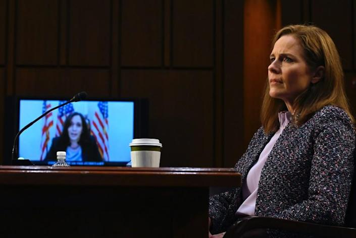 WASHINGTON, DC - OCTOBER 14: U.S. Sen. Kamala Harris (D-CA) questions Supreme Court nominee Judge Amy Coney Barrett via videoconference as she testifies before the Senate Judiciary Committee on the third day of her Supreme Court confirmation hearing on Capitol Hill on October 14, 2020 in Washington, DC. Barrett was nominated by President Donald Trump to fill the vacancy left by Justice Ruth Bader Ginsburg who passed away in September. (Photo by Andrew Caballero-Reynolds-Pool/Getty Images)