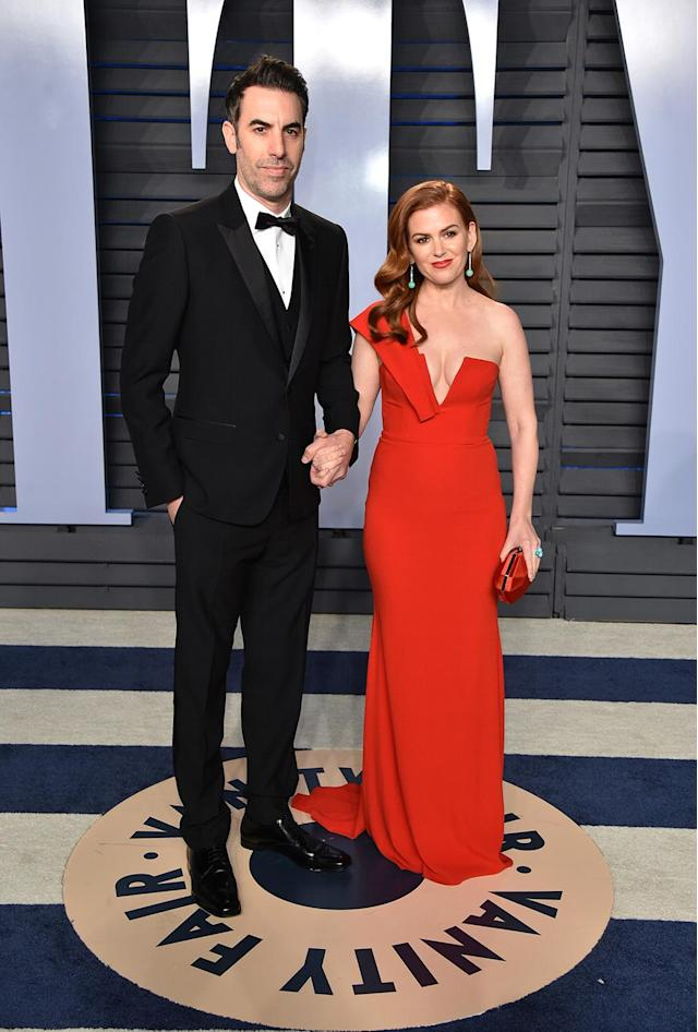 <p>No funny business here. The married couple brought serious glam to the <em>Vanity Fair</em> red carpet. (Photo: John Shearer/Getty Images) </p>