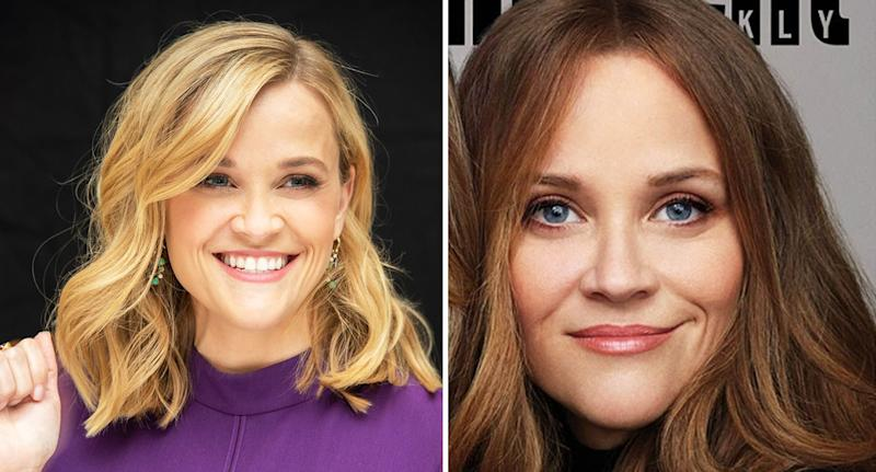 Reese Witherspoon pictured in June this year with her blonde hair, left, and now. [Photo: Instagram/Getty]