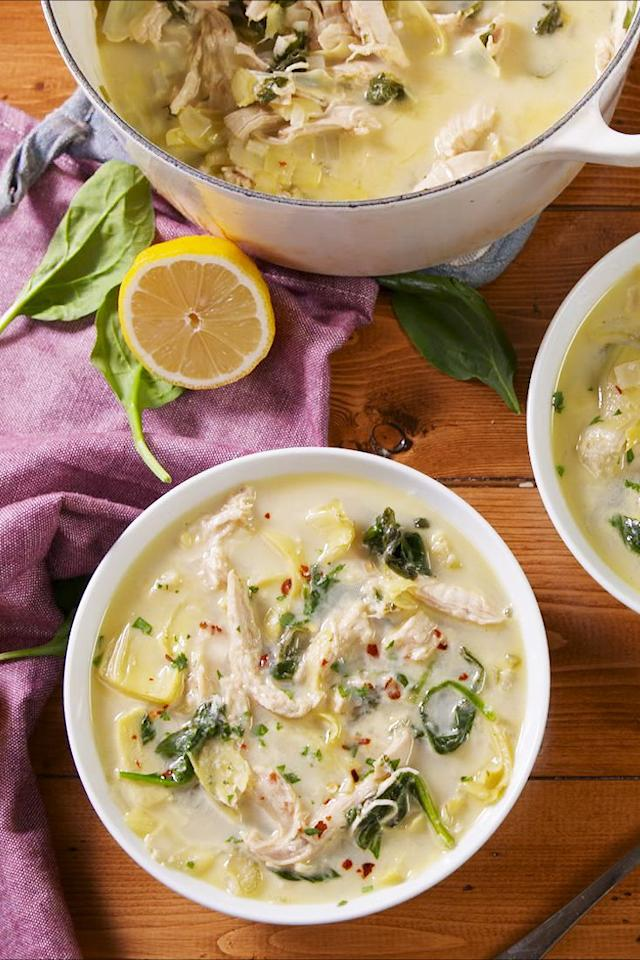 """<p>Love <a rel=""""nofollow"""" href=""""https://www.delish.com/cooking/recipe-ideas/recipes/a57633/baked-spinach-artichoke-dip-recipe/"""">spinach and artichoke dip</a>? Then you're gonna FREAK for this soup.</p><p>Get the recipe from <a rel=""""nofollow"""" href=""""https://www.delish.com/cooking/recipe-ideas/a24131957/chicken-spinach-artichoke-soup-recipe/"""">Delish</a>. </p>"""