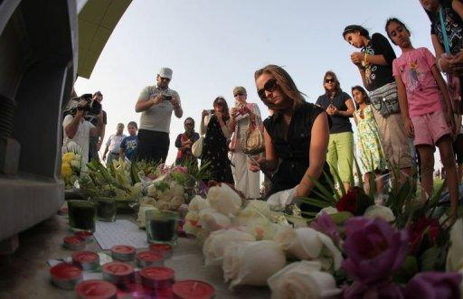 Mourners gather at the 'Aspire Zone' in the Qatari capital, Doha