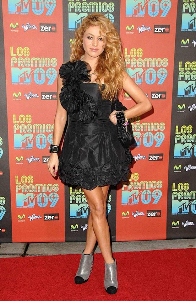 """Not that Paulina Rubio looked any better. Seriously! What's with that garbage-bag-like frock and those futuristic hoof-like heels? Steve Granitz/<a href=""""http://www.wireimage.com"""" target=""""new"""">WireImage.com</a> - October 15, 2009"""