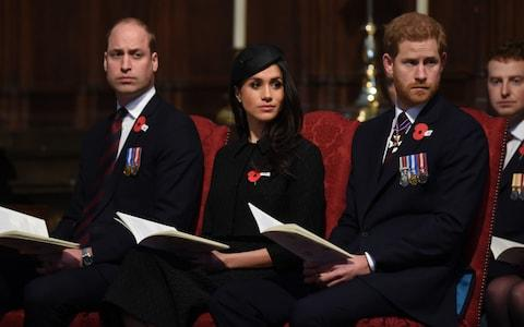 The Duke of Cambridge, Meghan Markle and Prince Harry during the Anzac Day service - Credit: Eddie Mulholland/The Telegraph