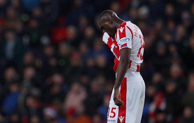 "Soccer Football - Premier League - Stoke City vs Manchester City - bet365 Stadium, Stoke-on-Trent, Britain - March 12, 2018 Stoke City's Bruno Martins Indi looks dejected Action Images via Reuters/Andrew Couldridge EDITORIAL USE ONLY. No use with unauthorized audio, video, data, fixture lists, club/league logos or ""live"" services. Online in-match use limited to 75 images, no video emulation. No use in betting, games or single club/league/player publications. Please contact your account representative for further details."