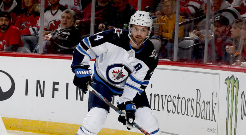Winnipeg Jets defenceman Josh Morrissey suffered an upper body injury prior to Sunday's game against the New York Islanders and was ruled out. (Andy Marlin/NHLI via Getty Images)