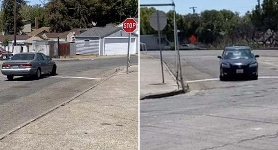Cars at a stop sign in Vallejo, California.