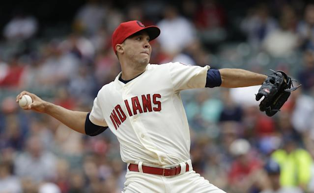 Cleveland Indians starting pitcher Ubaldo Jimenez delivers in the first inning of a baseball game against the Texas Rangers, Sunday, July 28, 2013, in Cleveland. (AP Photo/Tony Dejak)