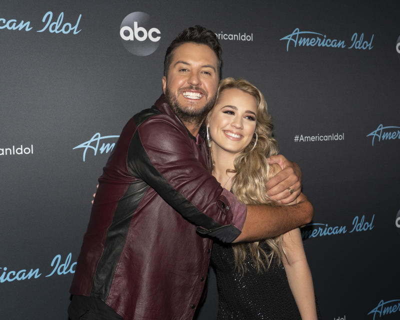 "Luke Bryan with Gabby Barrett. ""I believed in Gabby from the day one,"" Bryan says. (Photo: Eric McCandless/Walt Disney Television via Getty Images)"