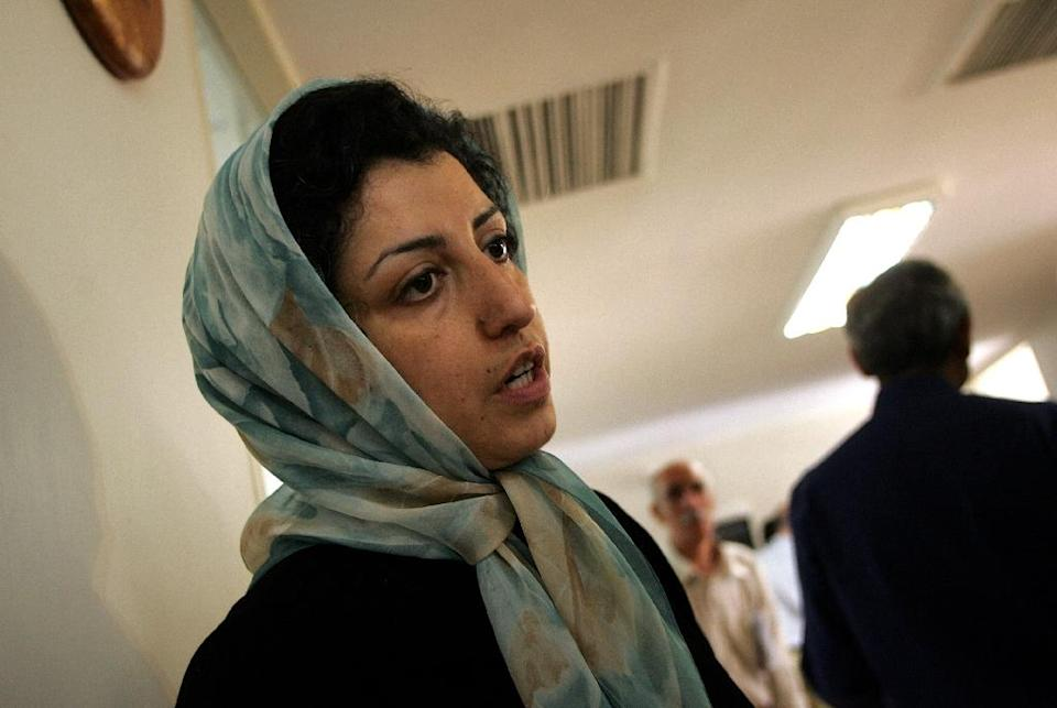 """Filer dated June 25, 2007, of Iranian human rights activist Narges Mohammadi who was sentenced to 10 years in prison for """"forming and managing an illegal group"""", among other charges (AFP Photo/BEHROUZ MEHRI)"""