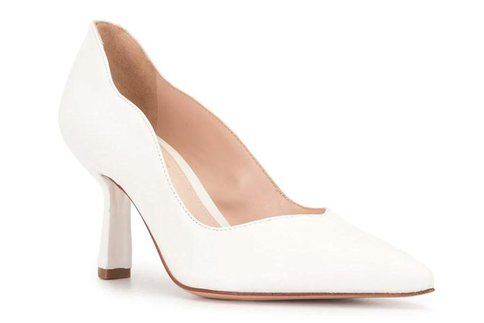 white pumps, heels, schutz
