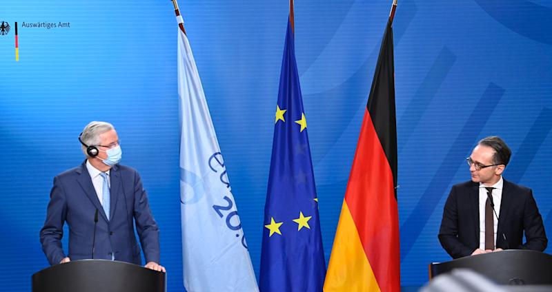 German Foreign Minister Heiko Maas and the European Union's Brexit negotiator Michel Barnier address the media after talks in Berlin, Germany October 5, 2020. Tobias Schwarz/Pool via REUTERS