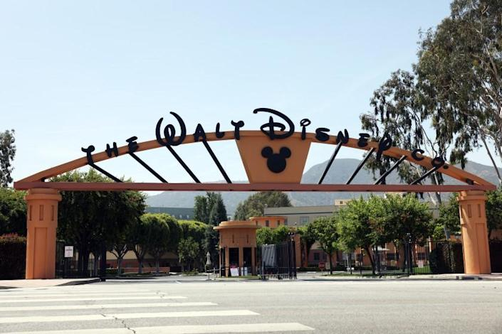 LOS ANGELES, CA - JUNE 02: The entrance to Walt Disney Co. is seen from West Alameda Ave. in Burbank on Wednesday, June 2, 2021 in Los Angeles, CA. This is their corporate headquarters building. (Dania Maxwell / Los Angeles Times)