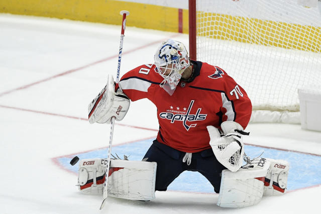 Washington Capitals goaltender Braden Holtby stops the puck during the third period of the team's NHL hockey game against the Vegas Golden Knights, Saturday, Nov. 9, 2019, in Washington. The Capitals won 5-2. (AP Photo/Nick Wass)