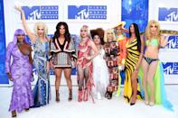 """The cast of """"RuPaul's Drag Race"""" arrived to the VMAs in historic fashion, and donned outfits inspired by some of the most iconic VMA red carpet moments."""