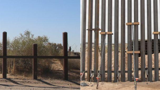 PHOTO: Two photos released by U.S. Customs and Border Protection shows a side-by-side comparison view of the existing vehicle barrier, left, a new wall construction mock-up, right, at the U.S.-Mexico border near Santa Teresa, N.M., April 7, 2018. (Mani Albrecht/CBP)