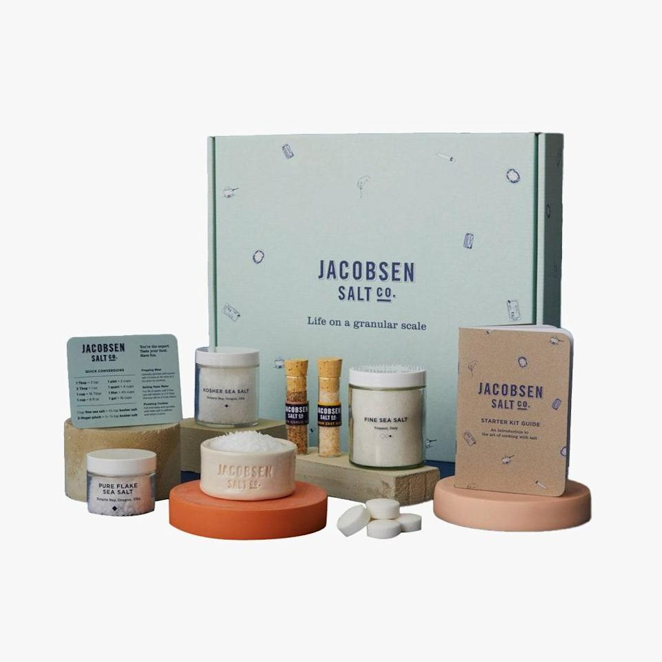 """The Jacobsen Salt Company offers a batch of all their products (harvested from the Oregon coast) for a crash course in saltiness. $110, Jacobsen Salt. <a href=""""https://jacobsensalt.com/collections/holiday-gift-ideas/products/the-starter-kit"""" rel=""""nofollow noopener"""" target=""""_blank"""" data-ylk=""""slk:Get it now!"""" class=""""link rapid-noclick-resp"""">Get it now!</a>"""