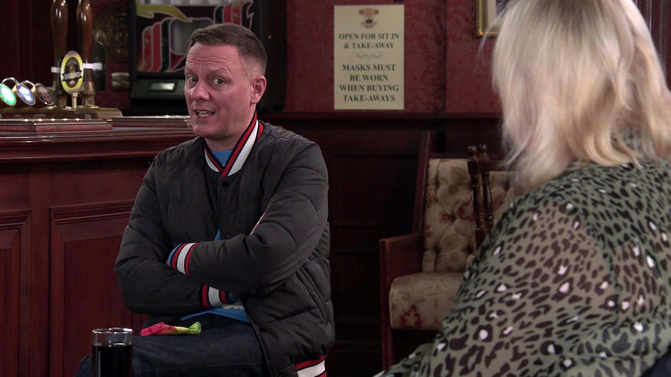 FROM ITV  STRICT EMBARGO - No Use Before  Tuesday 2nd March 2021  Coronation Street - Ep 10268  Monday 8th March 2021 - 2nd Ep  Sean Tully [ANTONY COTTON] asks Eileen Grimshaw [SUE CLEAVER] if he can store his boxes at No.11 again. Following Todd GrimshawÕs [GARETH PIERCE] comments about letting Sean walk all over her, Eileen suggests he finds a place of his own. Sean takes the huff as Eileen feels guilty.  Picture contact David.crook@itv.com   This photograph is (C) ITV Plc and can only be reproduced for editorial purposes directly in connection with the programme or event mentioned above, or ITV plc. Once made available by ITV plc Picture Desk, this photograph can be reproduced once only up until the transmission [TX] date and no reproduction fee will be charged. Any subsequent usage may incur a fee. This photograph must not be manipulated [excluding basic cropping] in a manner which alters the visual appearance of the person photographed deemed detrimental or inappropriate by ITV plc Picture Desk. This photograph must not be syndicated to any other company, publication or website, or permanently archived, without the express written permission of ITV Picture Desk. Full Terms and conditions are available on  www.itv.com/presscentre/itvpictures/terms