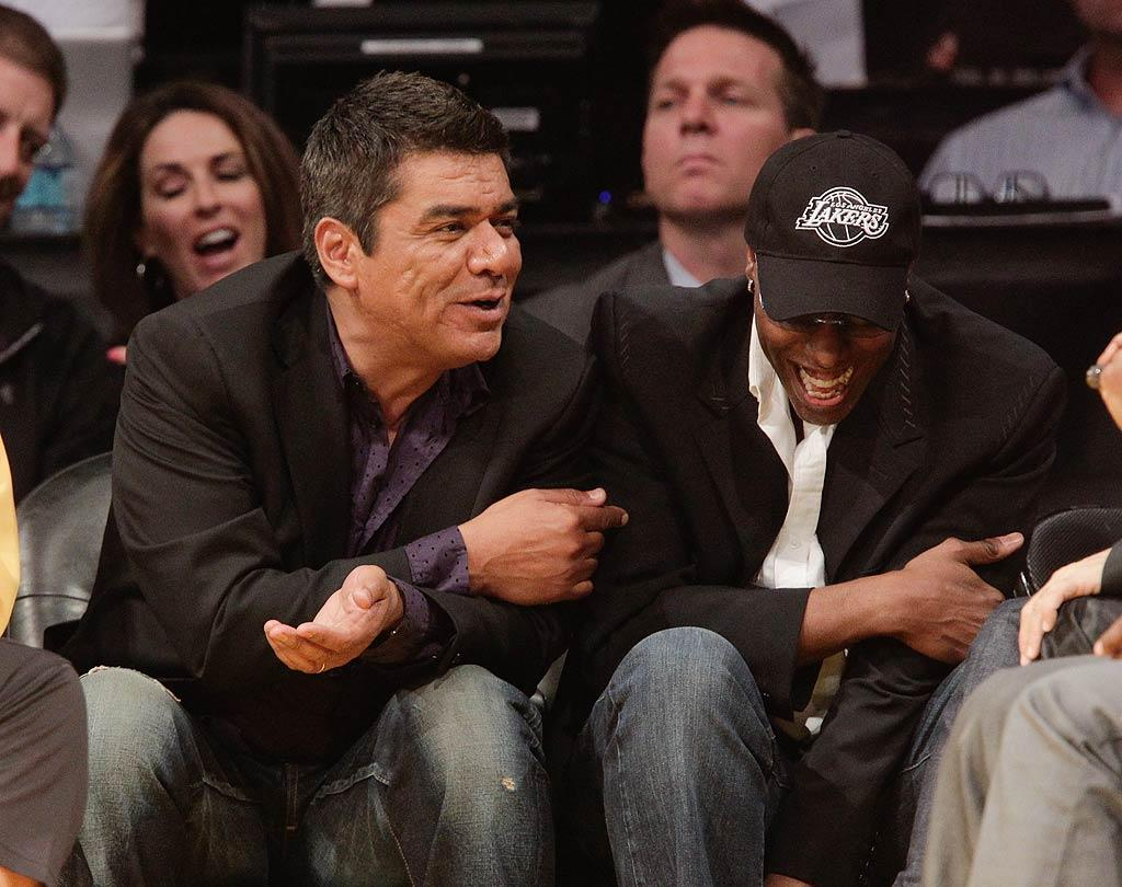 "George Lopez and Arsenio Hall laughed it up from their sweet seats as their team pulled out a win over the Houston Rockets. The final score was 112-110. Noel Vasquez/<a href=""http://www.gettyimages.com/"" target=""new"">GettyImages.com</a> - October 26, 2010"