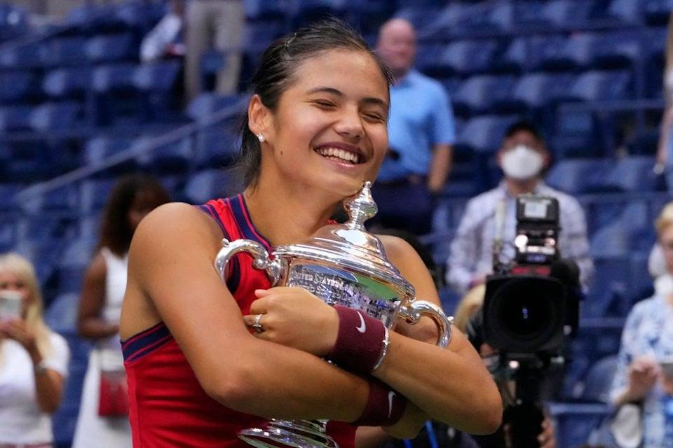 Emma Raducanu arrived back in Bromley five days on from her US Open triumph  (AFP via Getty Images)