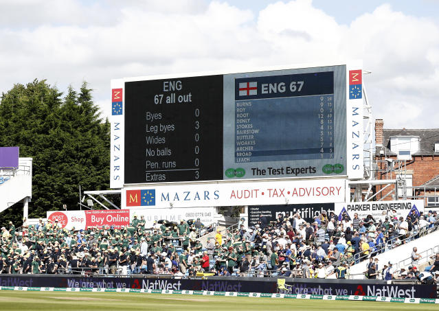 The scoreboard after England were bowled out for 67 runs at Headingley (Photo by Ryan Pierse/Getty Images)