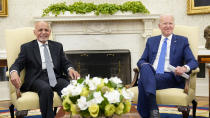 President Joe Biden meets with Afghan President Ashraf Ghani in the Oval Office of the White House in Washington, Friday, June 25, 2021. (AP Photo/Susan Walsh)