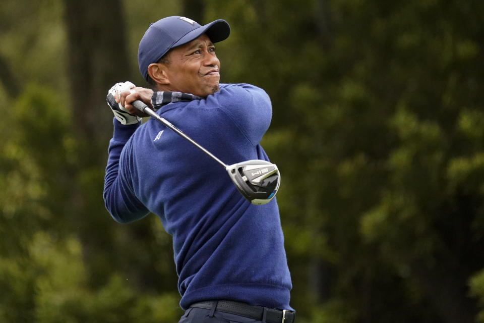 Tiger Woods watches his tee shot on the 12th hole during the first round of the PGA Championship golf tournament at TPC Harding Park Thursday, Aug. 6, 2020, in San Francisco. (AP Photo/Jeff Chiu)