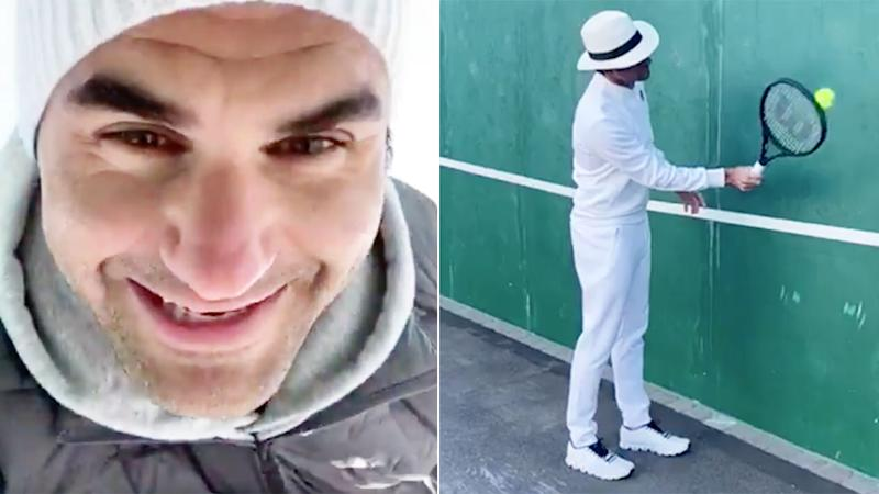 Roger Federer has been offering tennis lessons in a brilliant new social media post. Pic: Twitter@rogerfederer