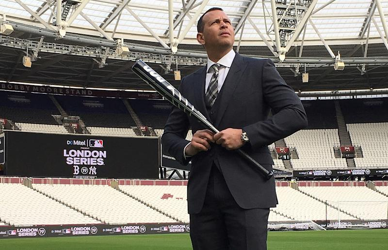 Baseball player Alex Rodriguez poses for pictures at the London Stadium during an event to promote Major League Baseball's London Series, in London, Britain, November 19, 2018. REUTERS/Iain Axon