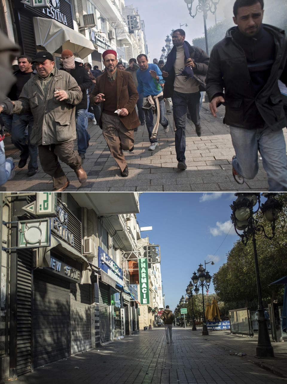 A combo image showing protestors running away from tear gas during a demonstration against former Tunisian President Zine El Abidine Ben Ali in the center of Tunis, Monday, Jan. 17. 2011, top, and a man walking past closed shops in Tunis' landmark Avenue Habib Bourgiba, during a national lockdown after a surge in Covid-19 cases, in Tunis, Thursday, Jan. 14, 2021. Tunisia is commemorating the 10th anniversary since the flight into exile of its iron-fisted leader, Zine El Abidine Ben Ali, pushed from power in a popular revolt that foreshadowed the so-called Arab Spring. But there will be no festive celebrations Thursday marking the revolution in this North African nation, ordered into lockdown to contain the coronavirus. (AP Photo/Thibault Camus, Mosa'ab Elshamy)