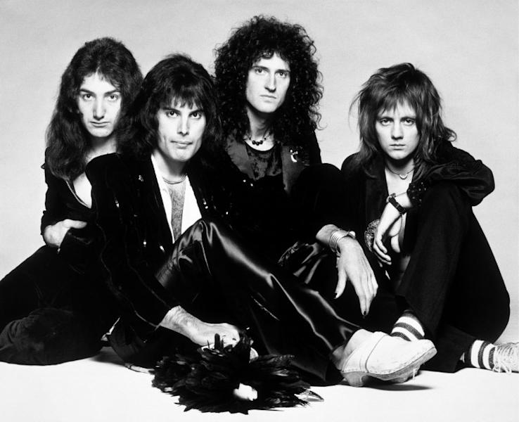 Members Brian May, Roger Taylor, Freddie Mercury and John Deacon of band Queen pose