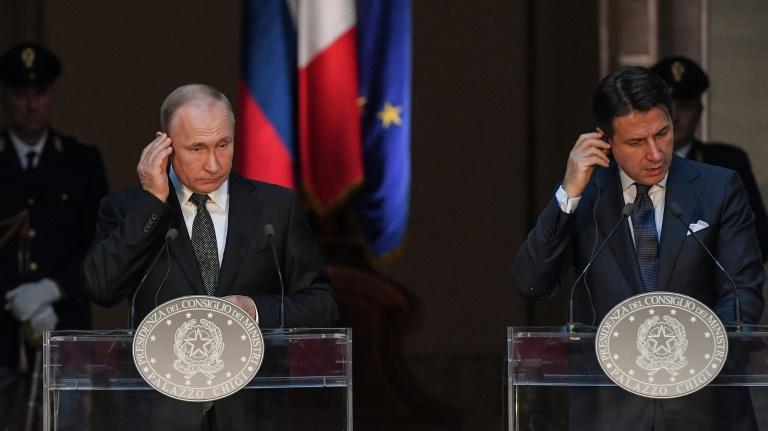 'We appreciate Italy's apiration to completely re-establish relations between Russia and the European Union,' Putin told a Italian Prime Minister Giuseppe Conte (AFP Photo/Tiziana FABI)